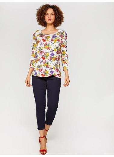 Faik Sönmez  Desenli T-Shirt 60616 Ekru